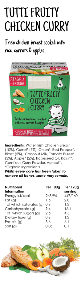 Pip and Pear Chilled Baby Food Ireland and Irish Made stage 3 Tutti Fruity Chicken Curry 10 months baby weaning